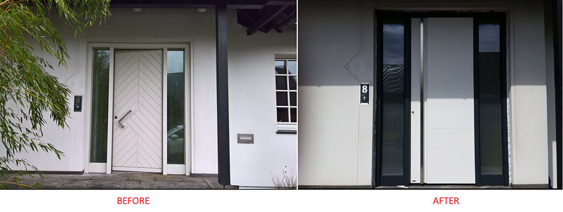 Replacing the front door: before and after